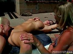 Two hot lesbians are on the floor and eating pussy before using cock