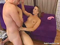 Blonde takes his cock deep in her pussy and gets a creampie