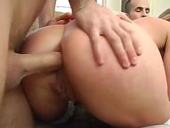 Harmony Rose gets two cocks and deep throats and gets hard DP