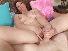 Horny girl sucks and fucks his cock and then finishes with a facial