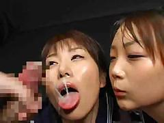 Japanese girls sucked his cock for cum and swap  the load