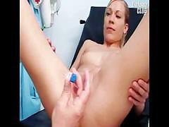 Blonde chick is at the doctors getting her pussy examined
