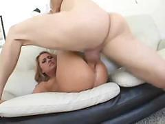Sexy blonde Ginger Lee sucks and fucks and gets a heavy load
