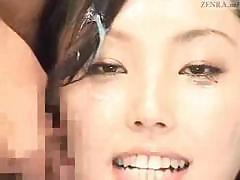 Japanese newscaster gets a cock to suck and gets a facial