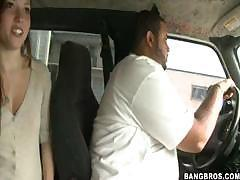 She gets talked in to getting in the van and fucking and then goes