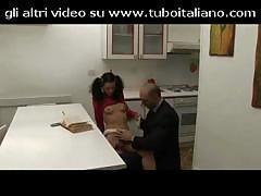 Italian girl is checked out by an older guy on her young pussy