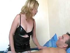 French blonde babe is sucking his cock before she sits on it