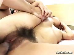 Busty Japanese slut gets her Asian hairy pussy fucked