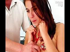 Teen Penny visits kinky gyno clinic for her hairy pussy speculum exam