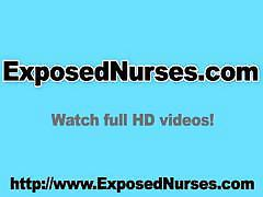 Huge tits naughty nurse Andrea playing with a speculum on gynchair