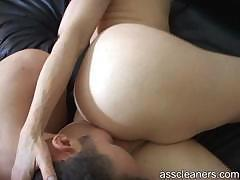 Young man licks and pleasures horny old mistress' ass hole