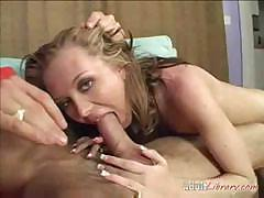 Cute blonde shows her stuff and sucks and gets an ass full of cock