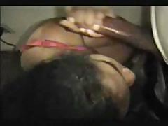 Ebony girl takes his hard cock and sucks on it until it cums