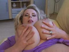 Massive big tits milf playing solo