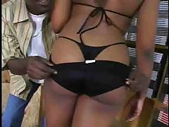 Black babe choking down cock and getting it deep in her pussy
