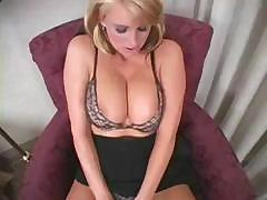 Busty blonde babe is showing how she rubs her pussy on webcam