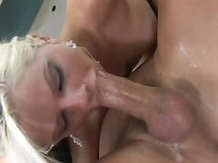 Tricia Oaks gags on his cock and works even harder to make it cum