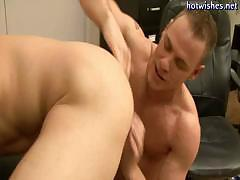 Tatoo gay sucking a cock and gets his asshole drilled