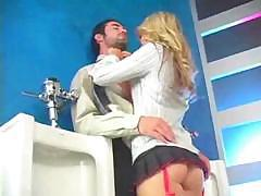 Kayden Kross sucks cock in the bathroom and bends over to fuck