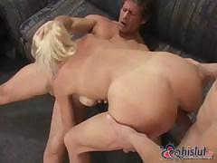 Daisy Fox and her nice boobs take on two cocks to suck and fuck