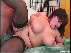 BBW in stockings sucks on a dick and then gets rammed by it