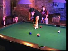 Playing pool turns into a hot threesome with anal fucking