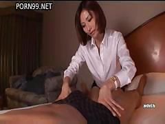 Oiled up Asian babe fucks and sucks and gets a warm facial