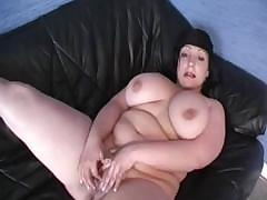 Big chubby gets horny too and masturbates with a purple dildo