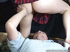 Blonde mistress wants man to be teased with her ass