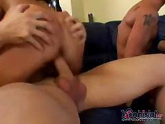 Sandra Romain takes on three cocks and gets all holes fucked