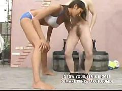 Very tall Asian amazon takes on a little guy and sucks and fucks