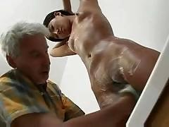 Korean girls gets washed and shaved by an old guy she fucks