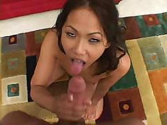 Asian gal tries her best to deep throat that cock but gags trying
