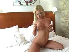 Blonde babe uses glass dildo to satisfy her hot and horny pussy