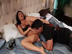 Asa Akira does some good deep throat before she fucks the dick
