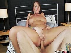 Amateur with big tits rides the cock and then gets a facial