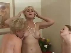 Older lesbian couple bring in a young one for some lessons