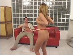 Guy gets his dick sucked and then fucks blonde and a red couch