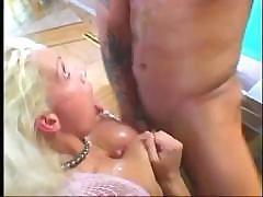 Horny blonde does some tit fucking and some rough ass fucking