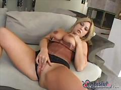 Avy Scott is a blonde babe who uses the black dick in all holes