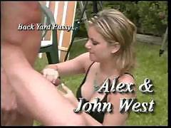Alex can suck a dick and use her pussy to fuck outside on the lawn
