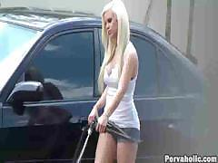 Blonde Cutie Videotaped Washing Car