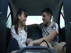 Excellent asian girl fucked in the car