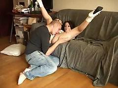 European babe spreads her legs wide and fucks hard cock for job