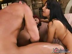 Threesome where two babes share all the fun on a hard cock