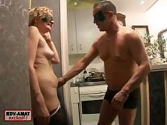 Masked couple decides to fuck with another stud on the bed