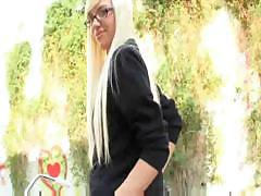 Nerdy blond coed Emma Mae takes a big dick down her smoothie
