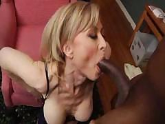 Cheeky Nina Hartley takes a huge black cock up her tight ass