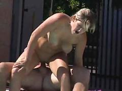 Blonde in the pool wants to come out and fuck her boyfriend