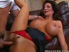 Busty mature is sucking and fucking her way on the couch too